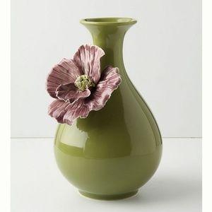Anthropologie Rose Sharon Flower Green Purple Vase